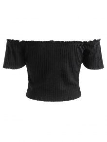 Lace M Negro Ribbed Shoulder Off Up Top EnfSUqHw