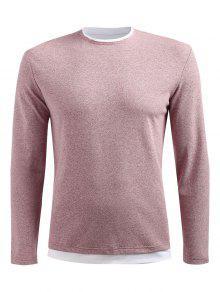 Claro Descubiertos Manga Camiseta Rosa L Con Larga Hombros IYwOpS