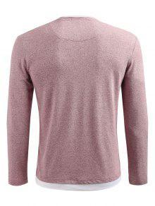 L Hombros Camiseta Descubiertos Manga Claro Larga Rosa Con 0qwHCwUxaT