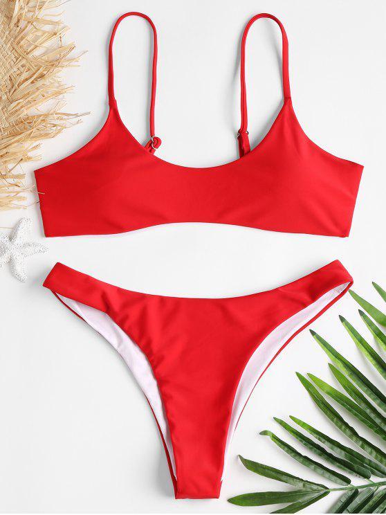 498259f71a 25% OFF] [HOT] 2019 High Cut Scoop Thong Bikini Set In RED | ZAFUL