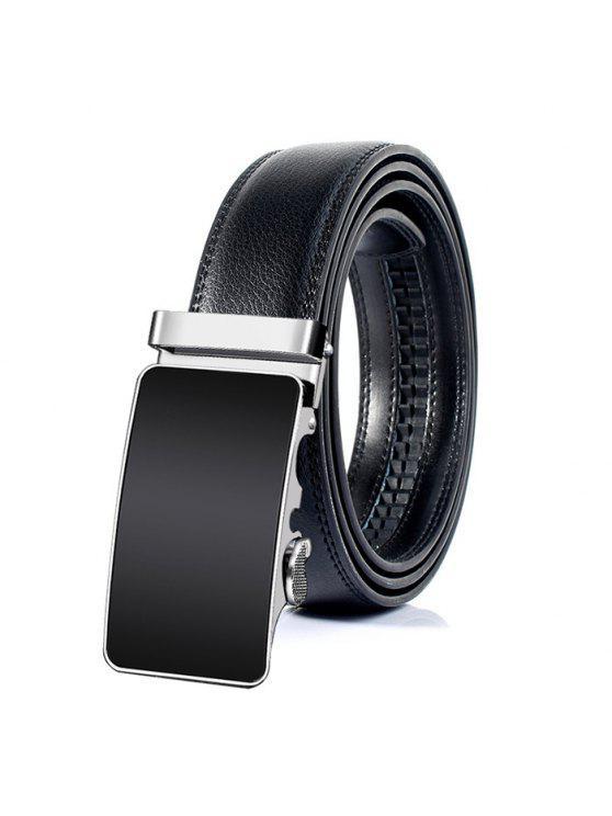 مشبك معدني مصقول الديكور فو حزام من الجلد - أسود 115CM