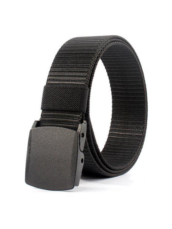 women Belt Metal Buckle Embellished Canvas Belt - BLACK