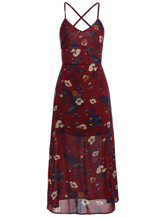 new Floral Print Backless Cami Dress - RED WINE L