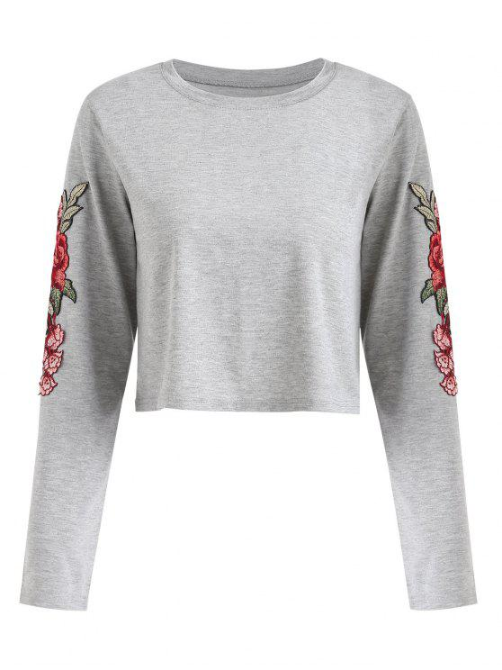 b2290b8a7ae67 31% OFF  2019 Long Sleeve Floral Appliques Tee In GRAY L