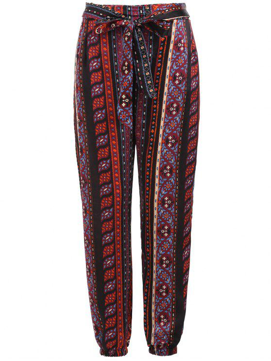 ladies Tribal Print Self Tie Pants - MULTI M