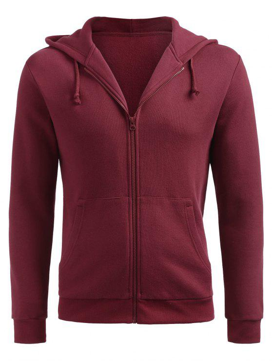 chic Zip Up Hooded Jacket - RED WINE L