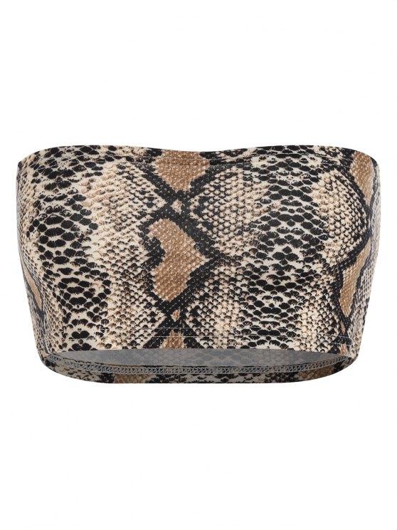 fashion Python Print Crop Tube Top - BROWN M