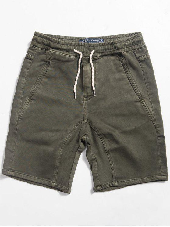 fancy Straight Drawstring Waist Shorts - ARMY GREEN M