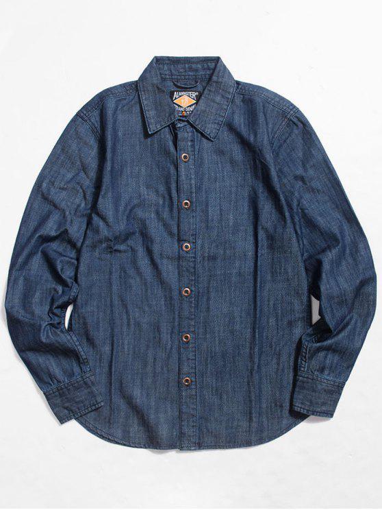 قميص من الدينيم بأزرار وأكمام طويلة - أزرق M