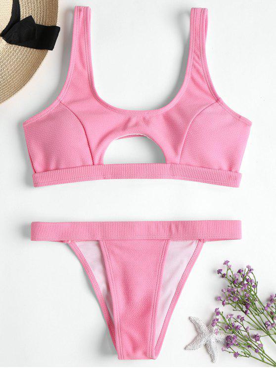 Gerippte Textur ausgeschnitten Bikini Set - Pink M