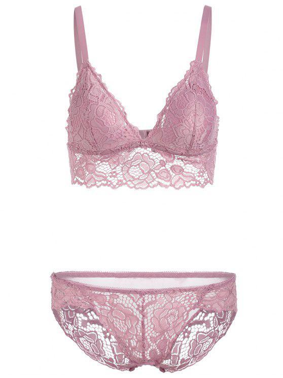 sale Push Up Lingerie Lace Bra Set - LILAC 70A