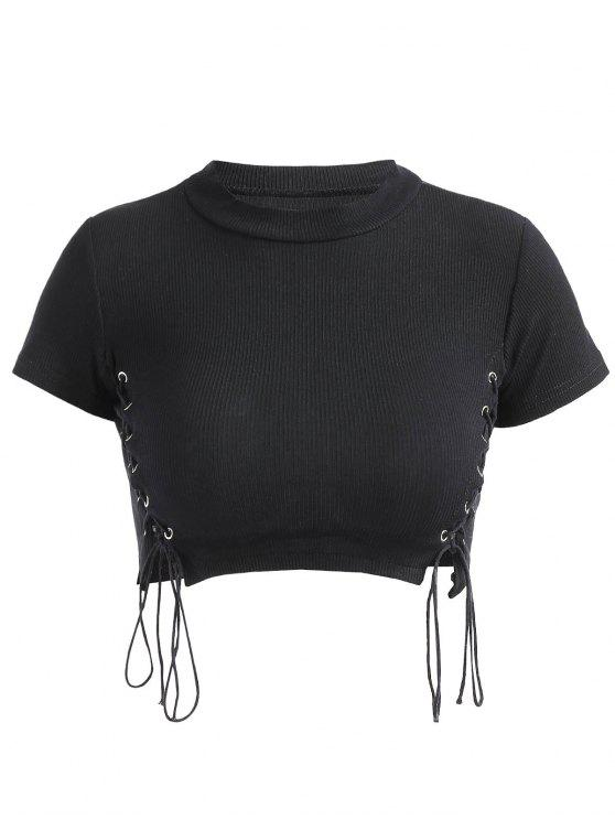 ladies Cropped Lace Up Ribbed Top - BLACK S