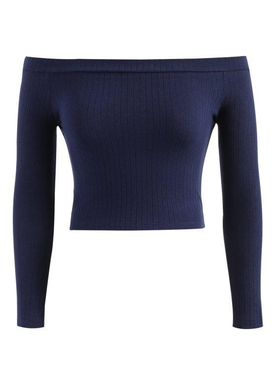 outfit Off Shoulder Ribbed Crop Tee - CADETBLUE L