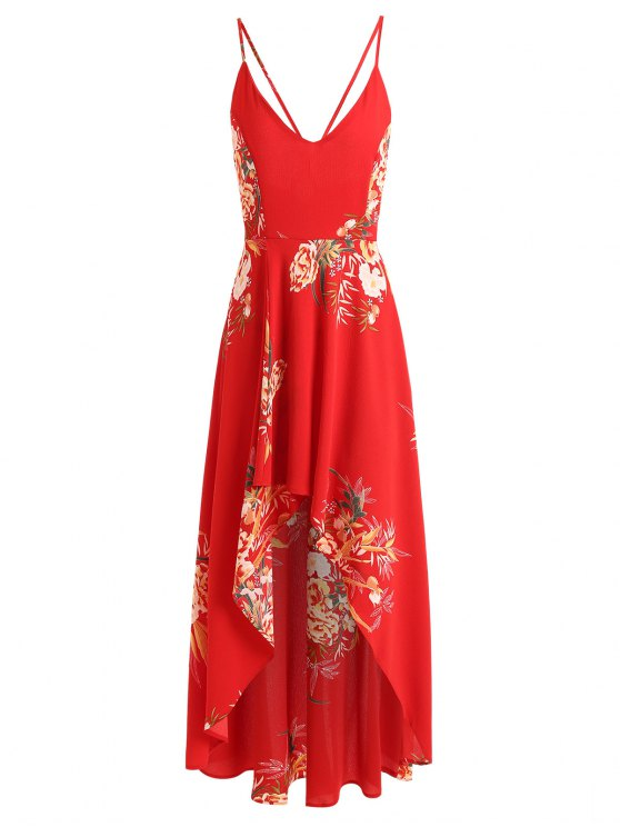 Vestito Lungo Asimmetrico Floreale Con Bretelle Incrociate - Rosso M