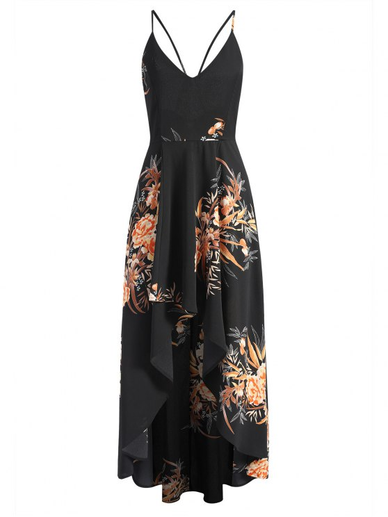 f41bbf4bc6f Floral Criss Cross Asymmetrical Maxi Dress