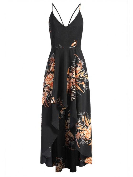 Robe Longue Asymétrique Croisée Florale - Noir M