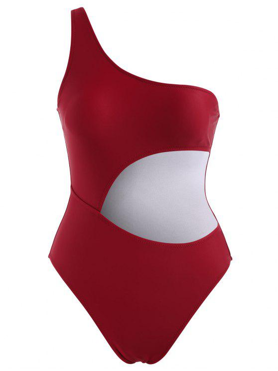 قطع الكتف واحد ملابس السباحة - نبيذ احمر M