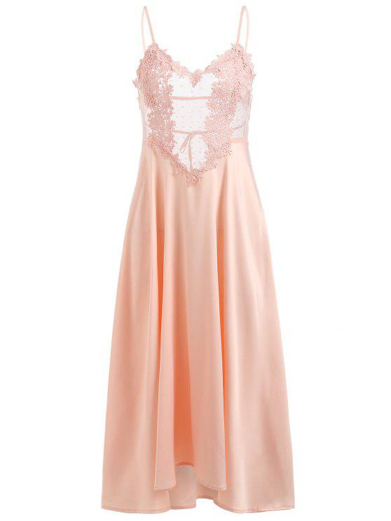 2018 Lace Insert See Through Lingerie Nightgown In LIGHT PINK ONE ...