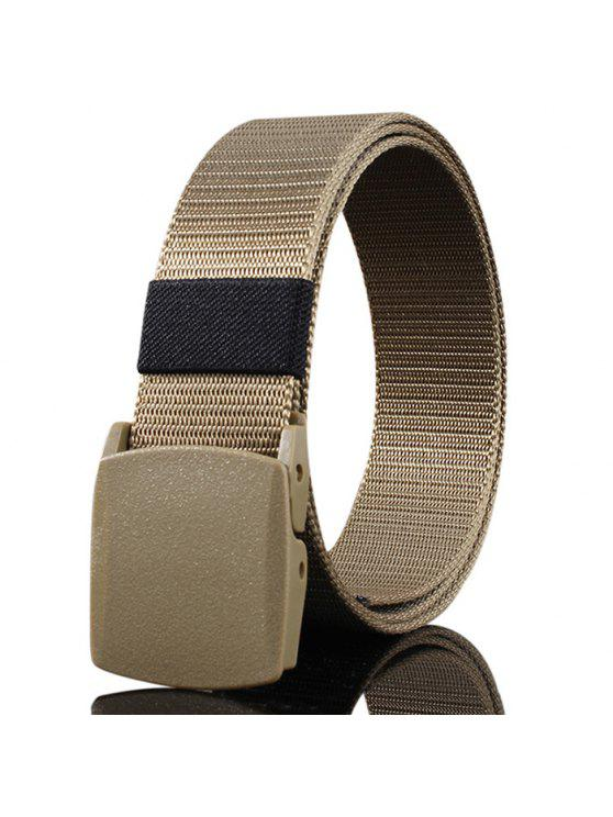 hot Belt Metal Buckle Embellished Canvas Belt - KHAKI