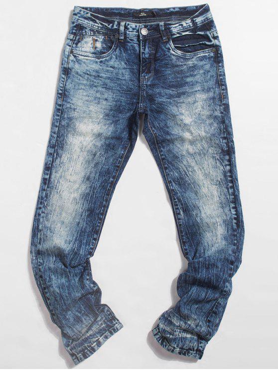 Jeans de poche délavés - Bleu 32