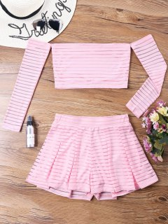 Mesh Striped Off Shoulder Two Piece Set - Pink L