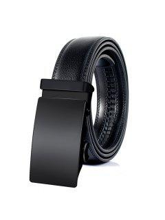 Cinturón Retro De Cuero De Imitación Con Hebilla Automática - Negro 125cm