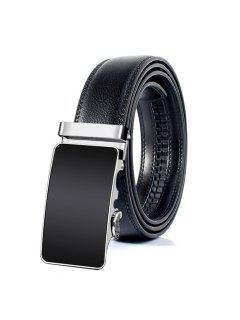 Metal Polished Buckle Decoration Faux Leather Belt - Black 130cm