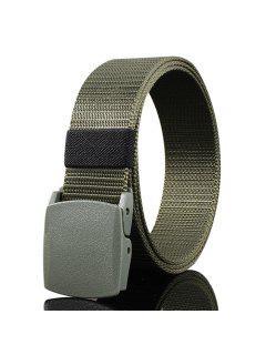 Belt Metal Buckle Embellished Canvas Belt - Army Green
