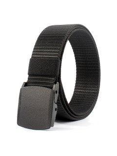 Belt Metal Buckle Embellished Canvas Belt - Black