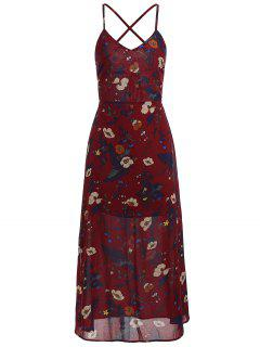 Floral Print Backless Cami Dress - Red Wine M