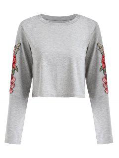 Long Sleeve Floral Appliques Tee - Gray L