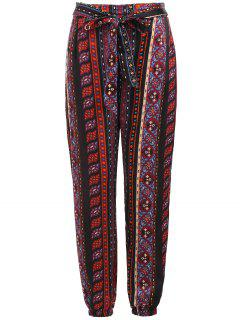 Tribal Print Self Tie Pants - Multi L
