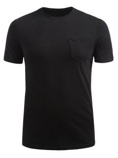 Front Pocket Short Sleeve T-shirt - Black M