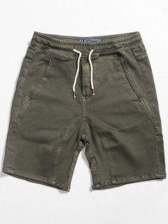 Straight Drawstring Waist Shorts - Army Green L