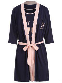 Costume Pyjama Trois Pièces à Imprimé Lettre - Ardoise Bleue Foncée M