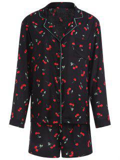 Cherry Pattern Pajamas Suit - Black M