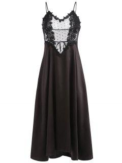 Lace Insert See Through Lingerie Nightgown - Black