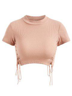 Cropped Lace Up Ribbed Top - Light Pink S