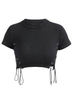 Cropped Lace Up Ribbed Top - Black S