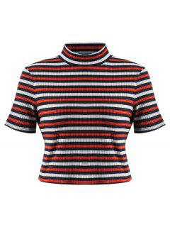 Camiseta Tejida A Rayas Con Cuello Alto - Multi M