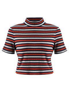 Camiseta Tejida A Rayas Con Cuello Alto - Multicolor L