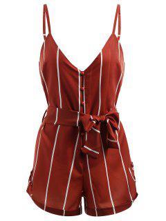 Striped Belted Cami Romper - Red L