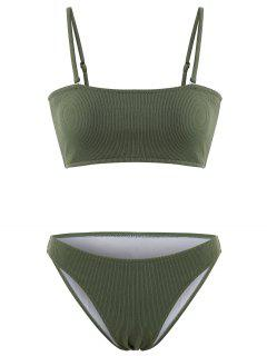 Ribbed Texture Bandeau Bikini - Medium Forest Green M