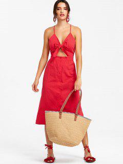 Vestido A Media Pierna Recorte Nudo - Rojo L