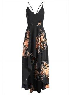 Robe Longue Asymétrique Croisée Florale - Noir L
