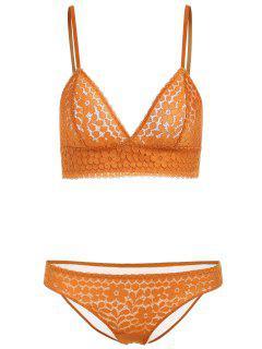 Seamless Lace Bra And Panties - Yellow 75b