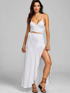 Stripe Tie Top And Skirt Set - White L