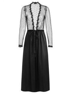 Robe Pyjama Longue Transparente - Noir