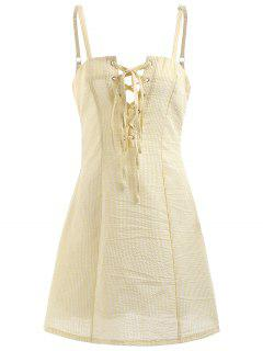 Striped Lace Up Mini Cami Dress - Yellow M