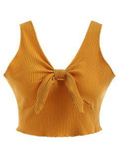 Plunging Neck Ribbed Crop Tank Top - Bright Yellow L